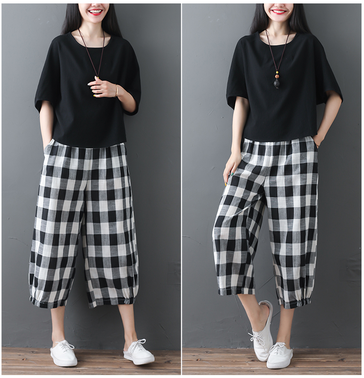2019 Cotton Linen Two Piece Sets Women Plus Size Half Sleeve Tops And Wide Leg Cropped Pants Casual Vintage Women's Sets Suits 65