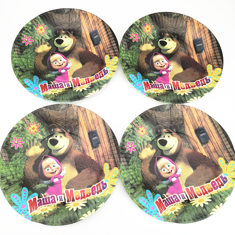 21pcs Masha and Bear Disposable Party Tableware 1pc TableCloth +10 cups+10 Paper plate Kids Boy Birthday Party Decoration