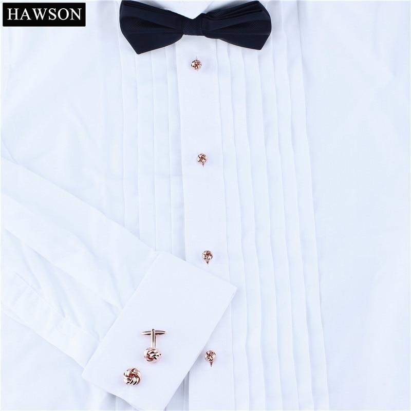 Hawson Mens Tuxedo Shirt Jewelry Twist Cufflink Stud Set Rose Gold