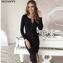 2017 Hot Sale Long-sleeved Hip Long Sexy Dress Solid Color Single-breasted Imitation Imitation cotton