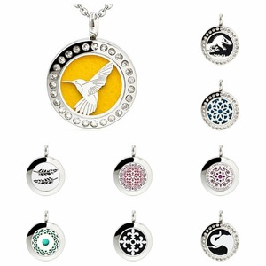 Dinosaur Feather Essential Oil 20mm locket 316L Stainless Steel pendant diffuser locket Perfume necklace chain 10pad as gift(China)