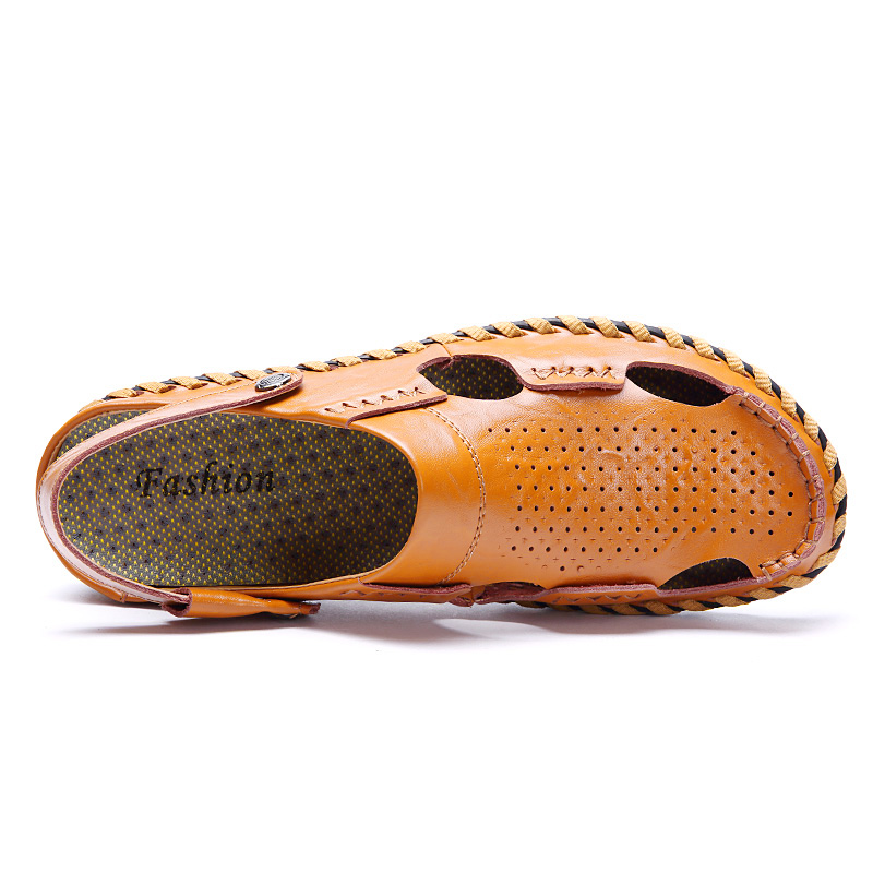 italian fashion leather mens summer shoes sandals luxury brand cool designer slide fisherman moccasin beach boy sandals for men