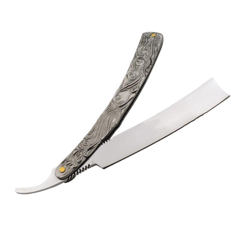 Barber <font><b>Men</b></font> <font><b>Manual</b></font> <font><b>Razor</b></font> Stainless Steel Straight Edge Cutter Aluminum Handle Folding Shaving Beard Shaver well 88 WH998