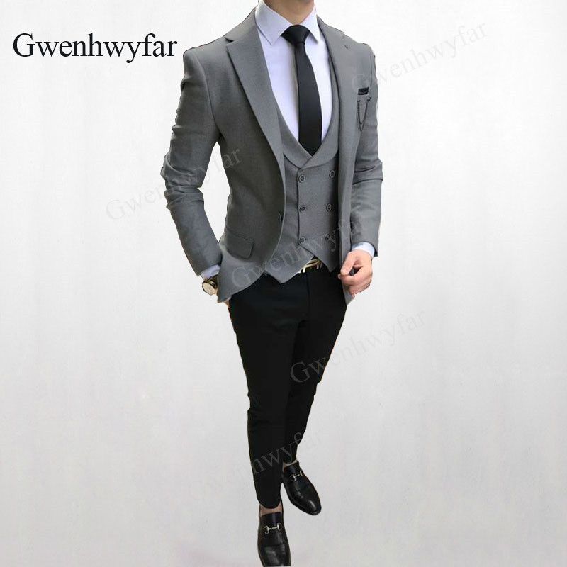 how to find sale uk get new US $84.07 39% OFF|Gwenhwyfar (Jacket+Pant+Vest) 2018 New Men Business Slim  Suits Sets Wedding Dress 3 pieces Grey Blazers Waistcoat Black Trousers-in  ...