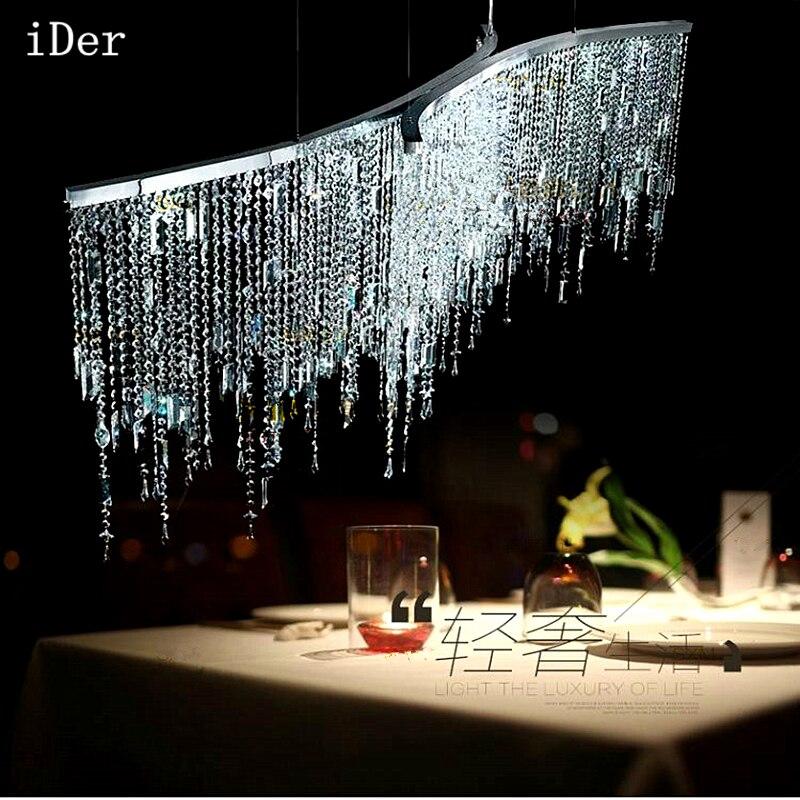 Led italienne de luxe en cristal pendentif lumières modèle chambre après la lampe de cristal de restaurant de chambre nordique simple moderne