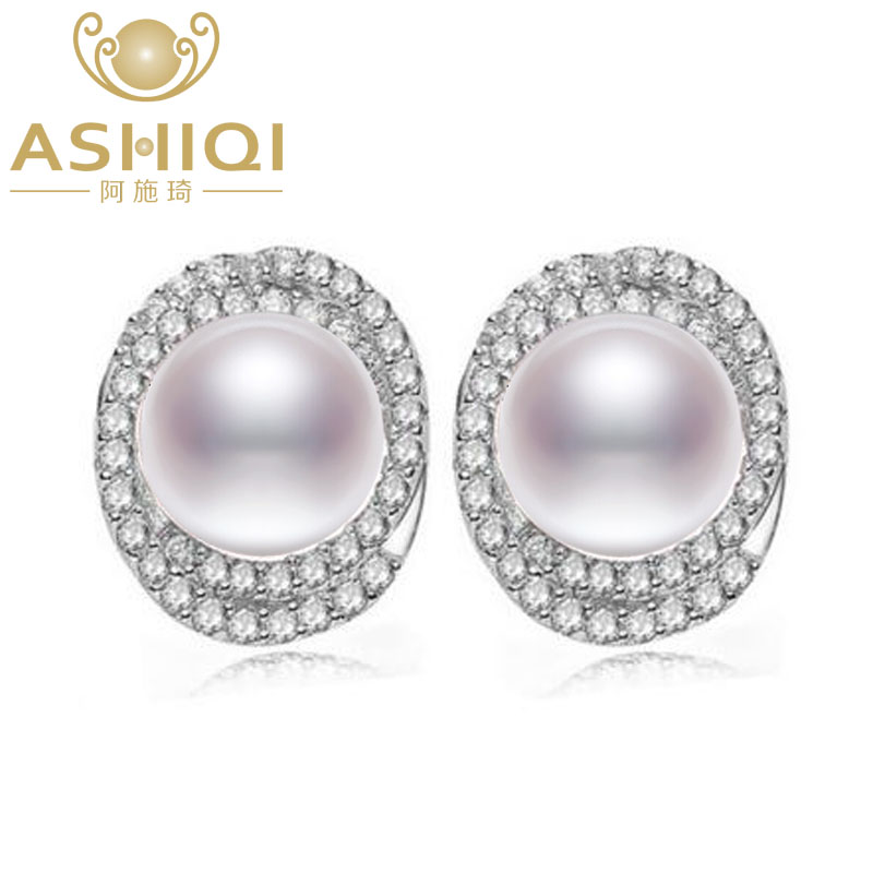 ASHIQI Natural Freshwater Pearl stud earrings 925 Sterling Silver jewelry for women 10-11mm big pearl vintage ashiqi real 925 sterling silver dangle earrings tassel long natural freshwater pearl earrings jewelry