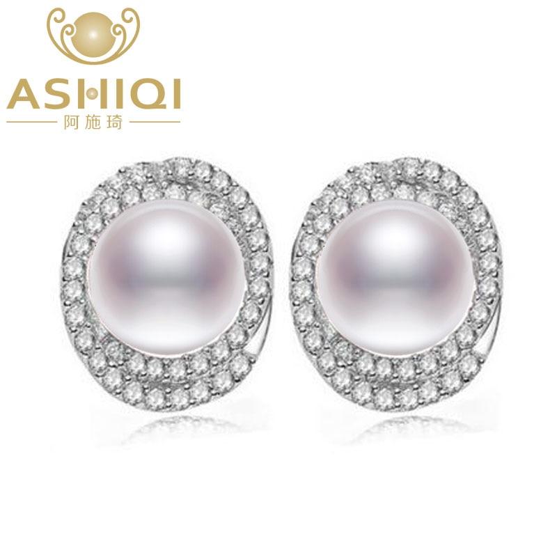 все цены на ASHIQI Natural Freshwater Pearl stud earrings 925 Sterling Silver jewelry for women 10-11mm big pearl vintage онлайн