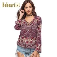 Купить с кэшбэком Bohoartist Summer Women Blouse Casual Floral Print Long Sleeve V Neck Lace Up Bohemia Indie Folk Female Loose Vacation Blouses