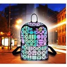 Geometric rhombic shoulder Mummy bag laser folding luminous lady baby care backpack reflective fashion diaper