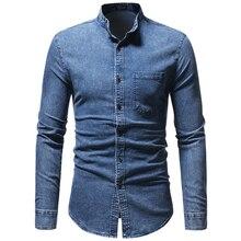 Casual Men Denim Shirt Solid Men Shirt Mao Neck Casual Mandarin Collar Shirt For Man Fashion Long Sleeve Man Blouse Male Top D40 недорого