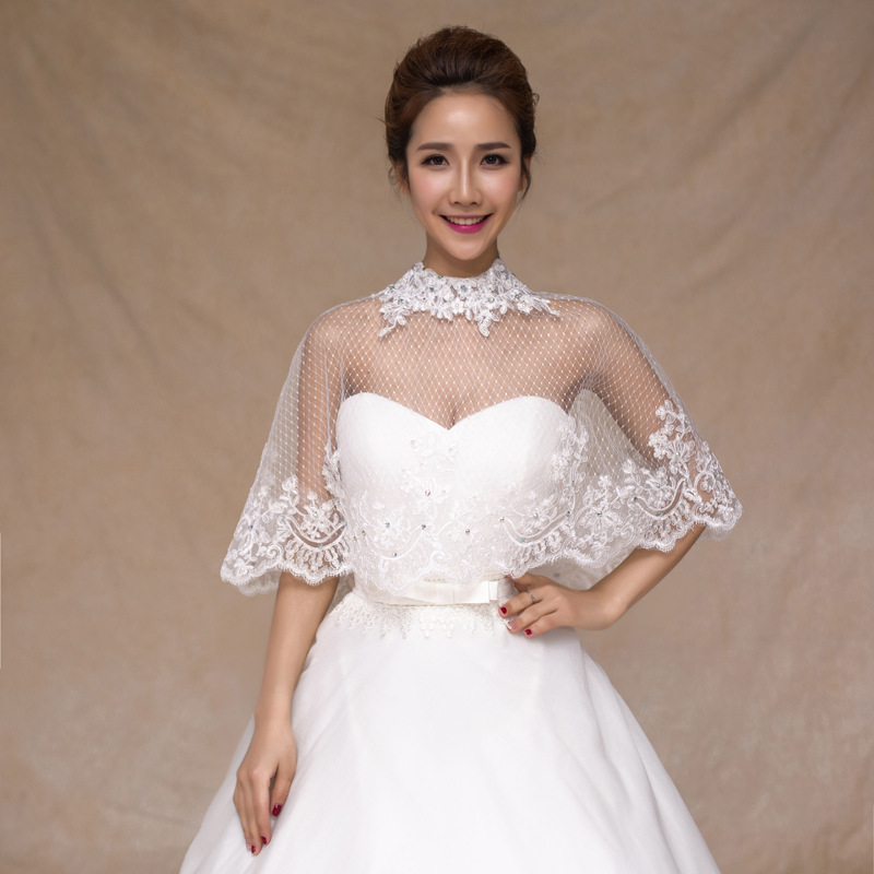 3 4 Sleeve Ivory High Neck Bridal Lace Bolero Crystal Cape Low