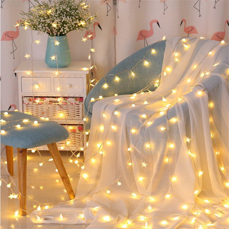Battery Powered Garland Warm White Mini Star Ball 3M 4M 5M String Lights Christmas Tree Wedding Xmas Party Indoor LED Decoration