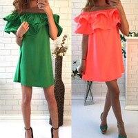 Hot Sale Women Summer Dress Solid Color Off Shoulder For Women Slash Neck Female Dresses Loose