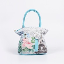 New Fashion Baby Girls Leather Handbags Princess Rose Print Beading Appliques Women Purse bag 6 style hot sale