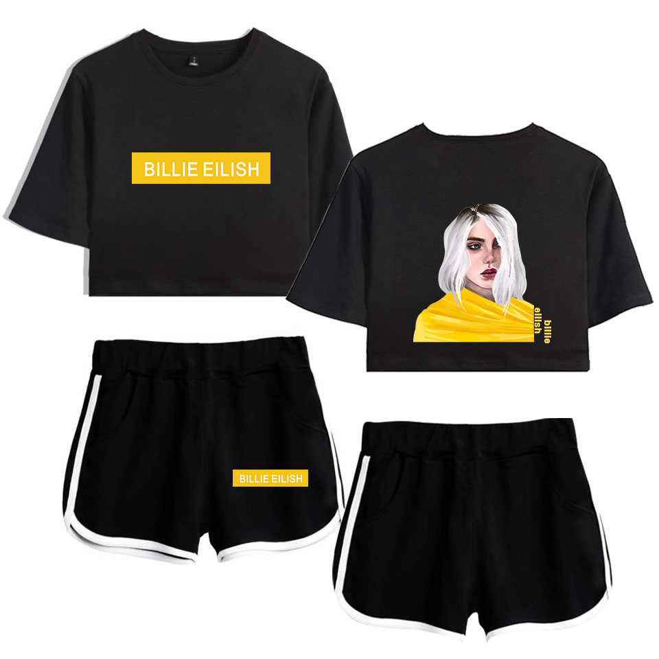 BILIE EILISH print Fashion comfortable Popular hip hop Street Basic casual Women Summer 2 Pic Set T-shirt Short Pants 2019 New