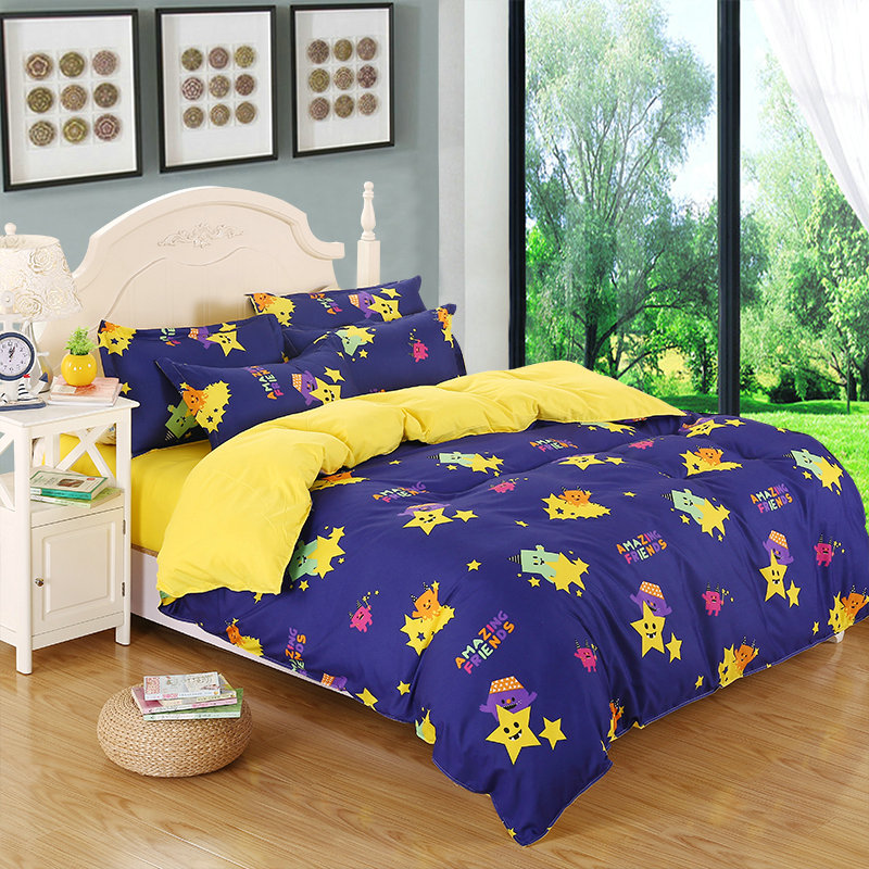 Cartoon Cute Little Monsters Print Pattern Four Sets Of Bedding Oversized Quilt + Bed + Pillowcase Comfortable Soft