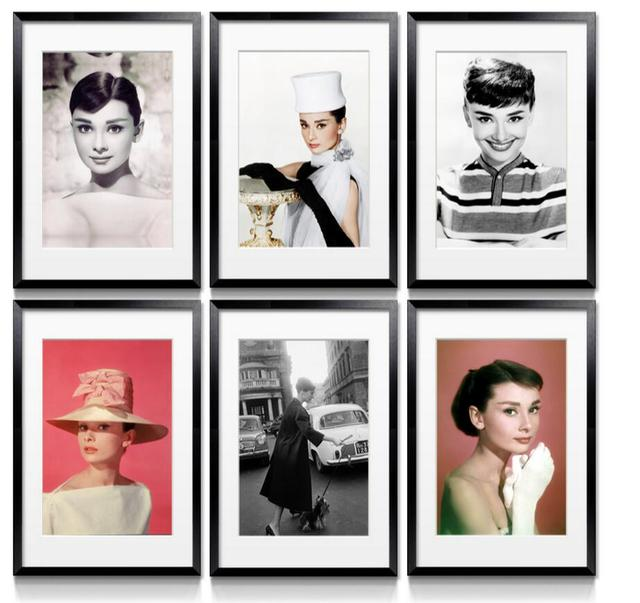 Modern Framed Canvas HD Print Painting Audrey Hepburn Figure ...