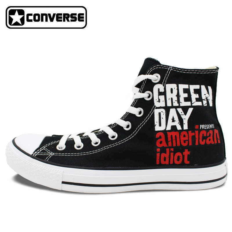Sneakers Men Women Converse All Star Green Day Heart-Shaped Grenade Custom Design Hand Painted Shoes Birthday Gifts