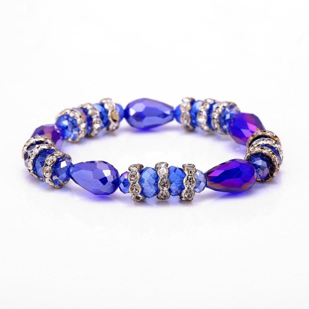 Señora flor de loto encanto perlas cinta elástica pulsera cristal Shamballa para mujeres