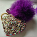 2016 Genuine Fox Rabbit Fur Ball Keychain Crystal Heart  Keychain Fur Pompom Heart Key Chain For Women Bag Charm porte cle coeur