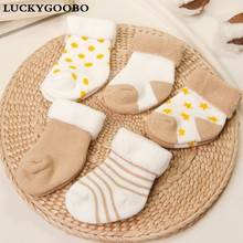 Baby Socks 5 Pairs Unisex Cotton Newborns Winter 0-24months Infant boys Anti-slip Toddler Girl Cute Short Warm Socks