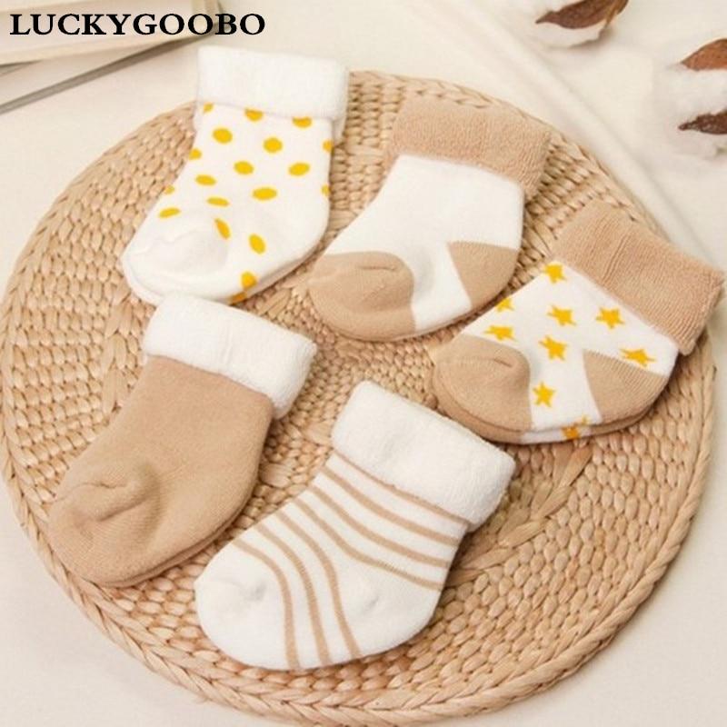 Baby Socks 5 Pairs Unisex Cotton Newborns Winter 0-24months Infant boys Anti-slip Toddler Girl Cute Short Warm Socks