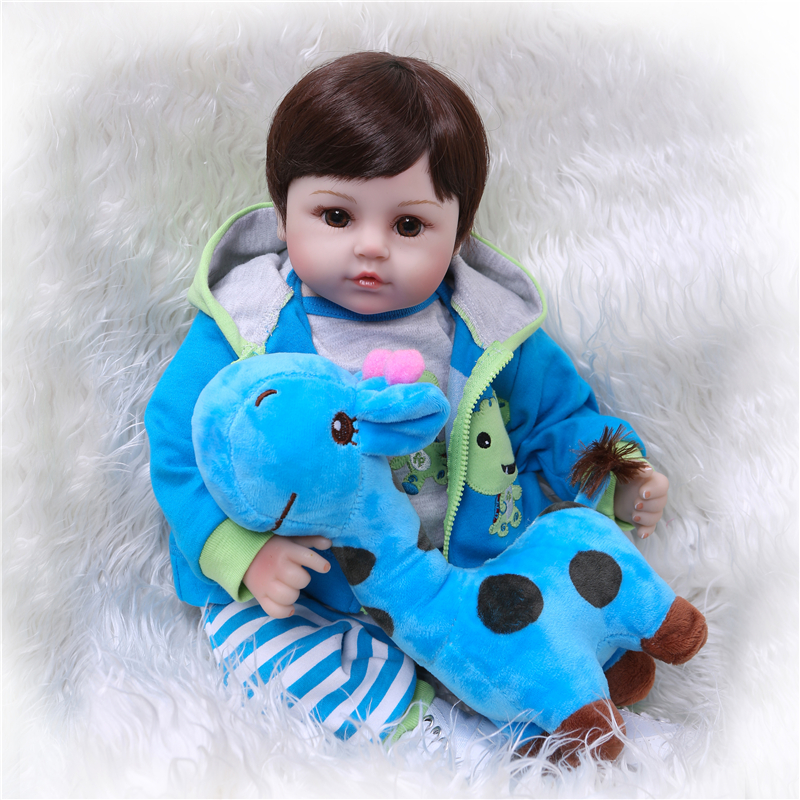 NPK 47CM Newborn Reborn Baby Dolls Silicone Cloth Body toddler Doll For Girls Princess Kid Fashion Bebes Dolls with blue giraffe-in Dolls from Toys & Hobbies    1