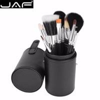 JAF 12 STKS/SET Up Kwasten Set Kits Houten Handvat Nylon Haar Bulsh Poeder Foundation Oogschaduw Make up Brush Met Cilinder doos