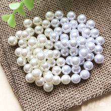 цена на No hole Pearls Perle Pearl without hole tiny Small 3 mm to 40 mm white Bubblegum Loose Round Chunky ABS Pearls Beads Supplies