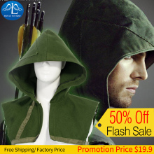 New Chic Men's Hot Superhero Oliver Queen Green Arrow Hoodies Carnival Cosplay Costume For Men Factory Price Free Shipping