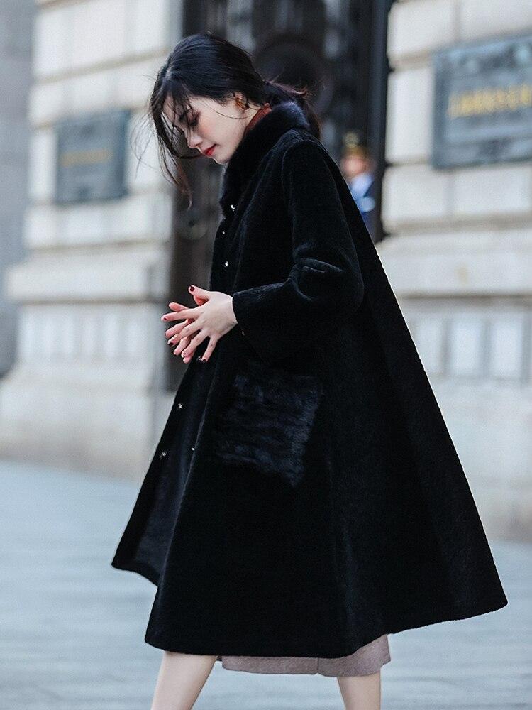 Longs Vêtements De Poche Réel Laine Manteau Femmes Européenne Nouveau Pur Naturel Manteaux Automne Vison Vintage Z967 Veste Hiver Noir Fourrure TxOwX