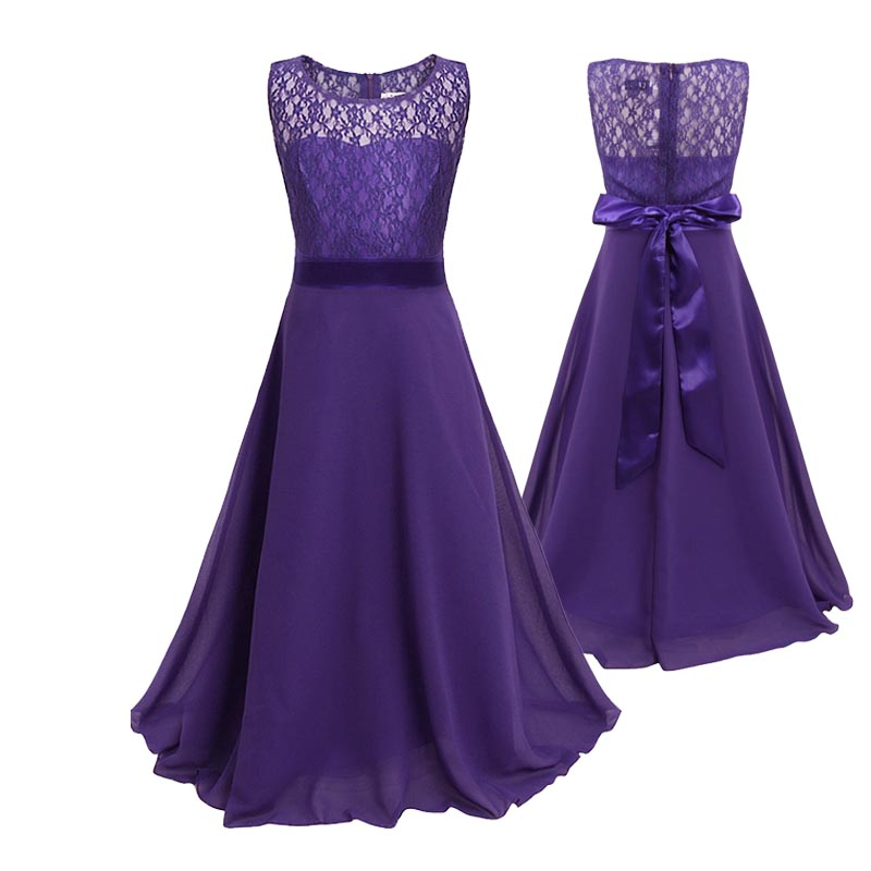 2-12 Yrs Lace Long Fomal Dress for Wedding Party Prom Graceful Dress with Big Bow in 10 Colors Baby Girl Clothes for Ceremonies send envelope lace laser cut pink invitations cards for wedding free printing blank paper invitation card kit ribbons big bow