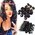 Peruvian Body Wave Lace Frontal Closure with 3 Bundles Human Hair Weaves Unprocessed Wonder Beauty Hair with ear to ear Frontal