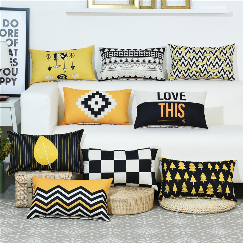 Geometric Letter Antlers <font><b>Pillow</b></font> <font><b>Case</b></font> <font><b>30*50</b></font> Rectangle <font><b>Pillow</b></font> Cover Seat Waist Cushion <font><b>Case</b></font> Toss Pillowcase For Sofa Home Decor image