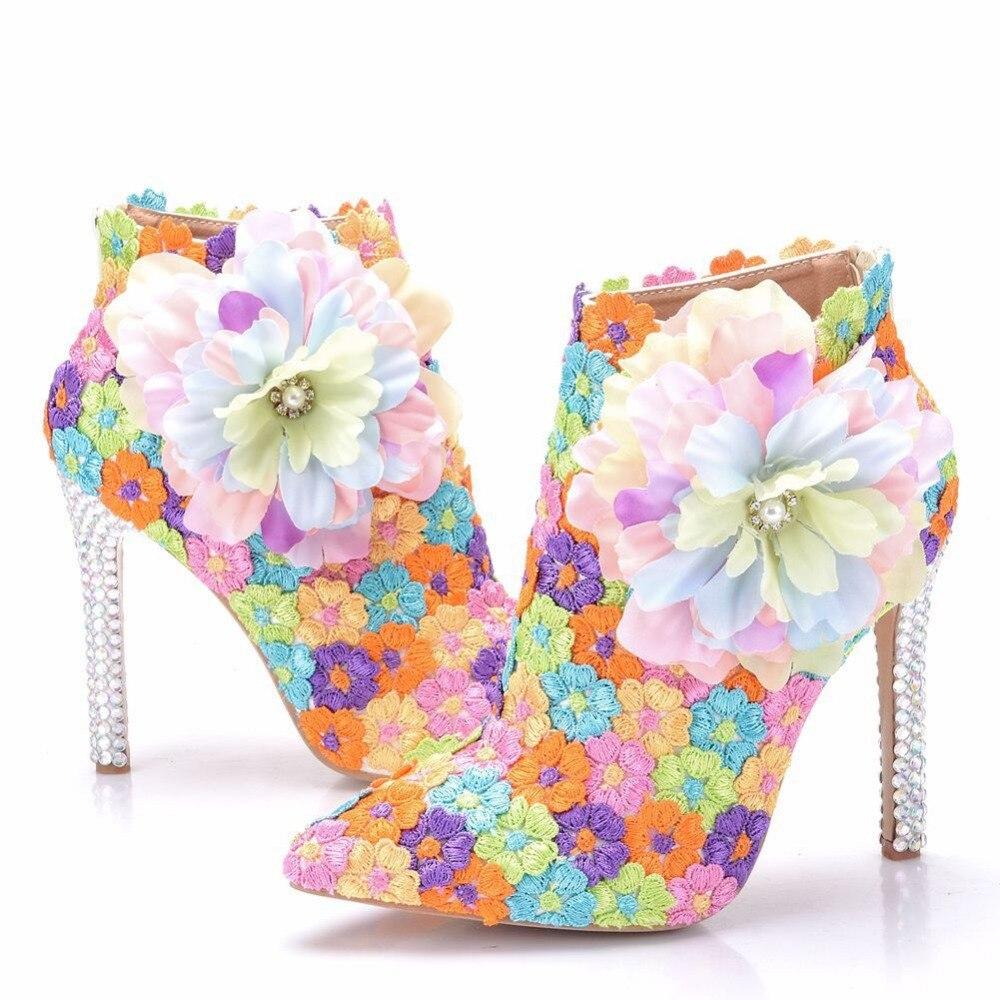 Femmes bottes bout pointu printemps bottes femmes chaussures pompes fleurs dames parti Western sabot talons bottines femmes chaussures de mariage