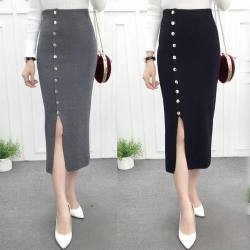 Women Winter Knee Long Length Knit Skirts Button Line Pencil