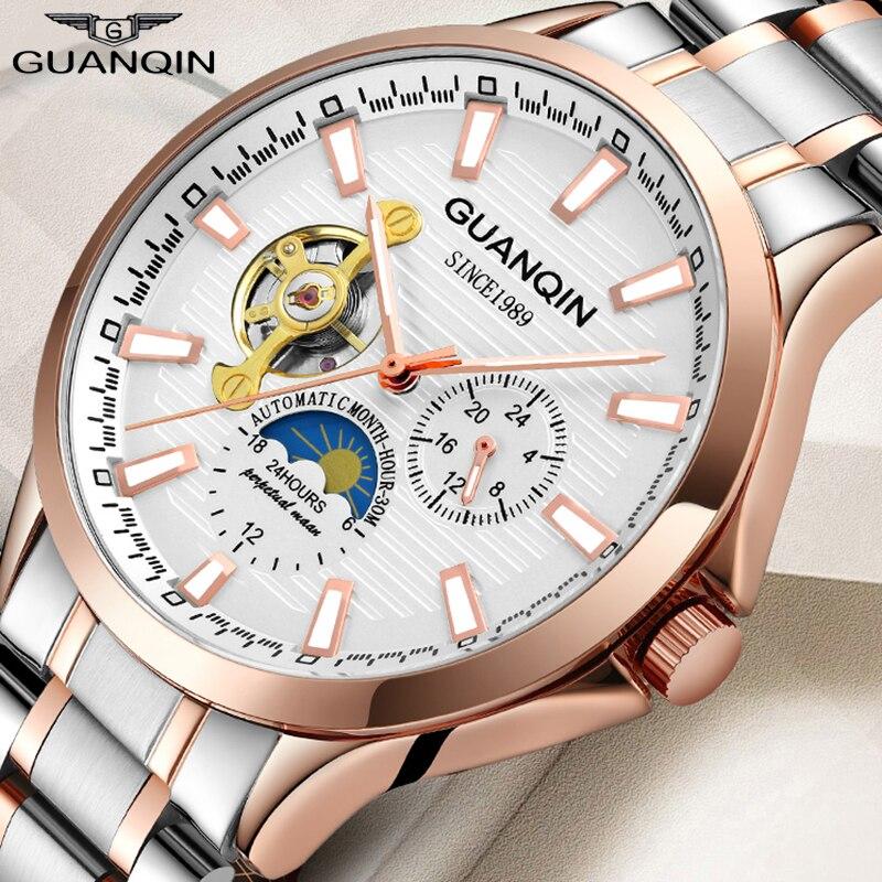 GUANQIN 2019 Men's Watch Top Brand Luxury Automatic Business Clock Men Tourbillon Waterproof Mechanical Watch Relogio Masculino
