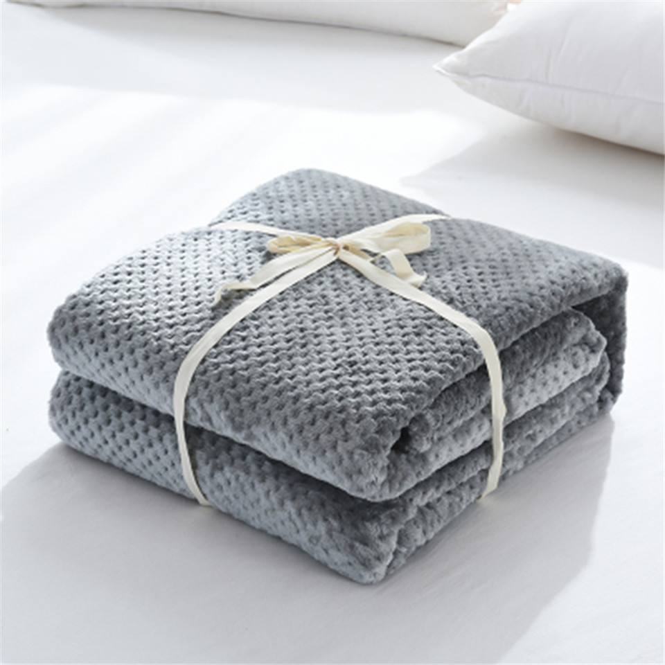 Image 5 - Parkshin 2019 Fashion Gray Flannel Pineapple Blanket Aircraft Sofa Office Adult Blanket Car Travel Warm Throw Blanket For Couch-in Blankets from Home & Garden