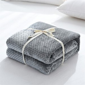 Image 5 - Parkshin Fashion Dark Blue Flannel Pineapple Blanket Aircraft Sofa Office Adult Blanket Car Travel Warm Throw Blanket For Couch