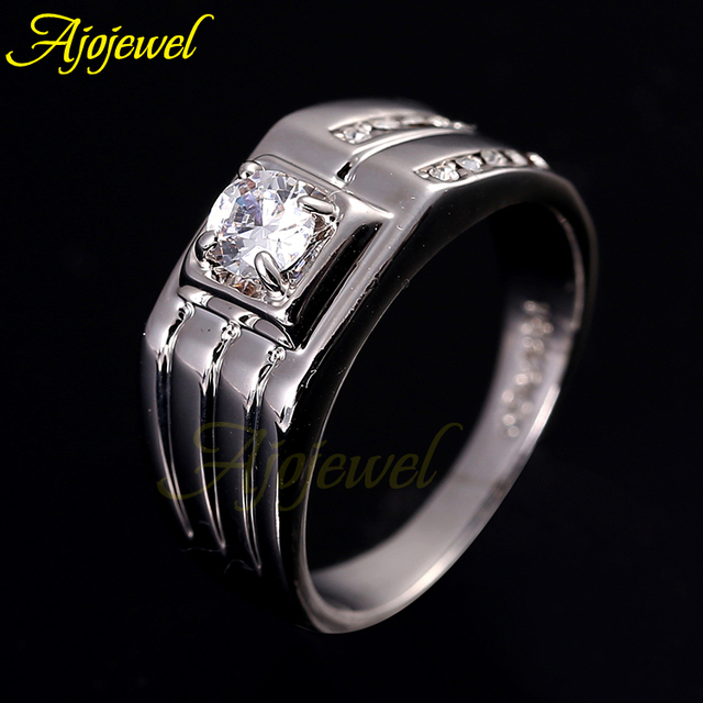 Ajojewel Fashion Classic Style Man Jewelry Zircon Engagement Ring