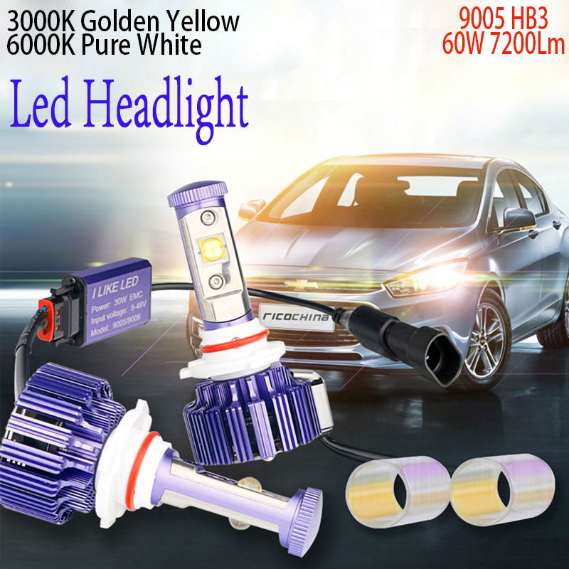 9005 LED Headlight HB3 H10 Pair Plug&Play Car Conversion Kit with Cree chip High Low Beam Auto Headlamp 30W 6000K 7200LM 12V сотовый телефон lenovo vibe z2 titanium grey