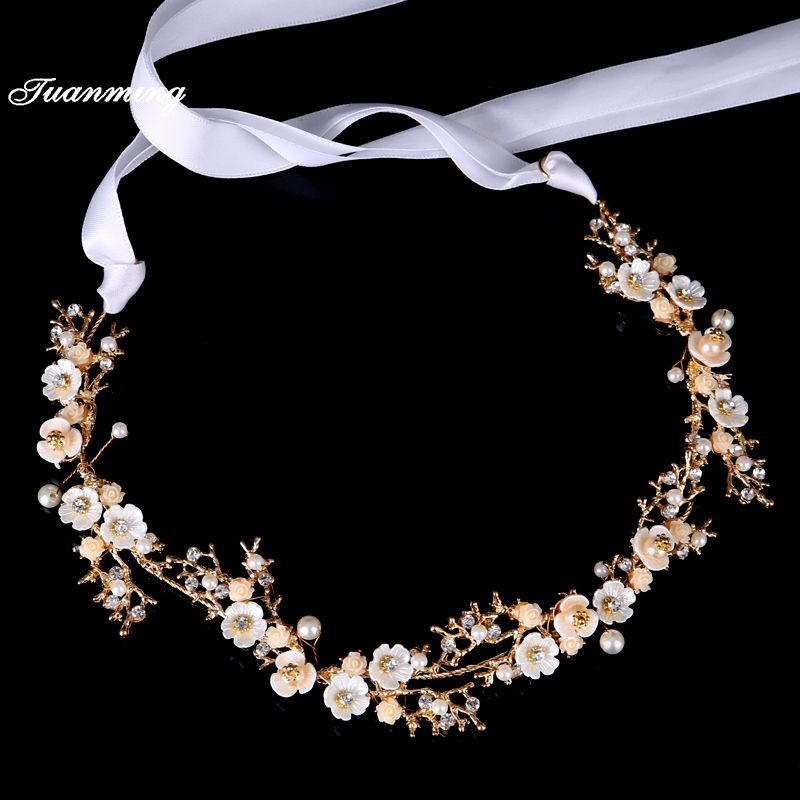 TUANMING Gold Crystal Hair Jewelry Women Bride Headbands Pearl Flowers Wedding Hair Bands Bridal Tiaras Hair Accessories Crown 00009 red gold bride wedding hair tiaras ancient chinese empress hair piece