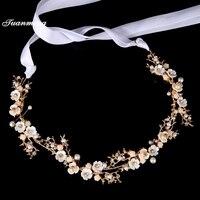 Gold Zinc Alloy Crystal Ribbon Women Bride Headbands Pearl Resin Flowers Wedding HeadBand Bridal Tiaras Hair