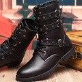Novo 2016 Mens Punk Grosso Sola de Couro Macio Rebite Martin botas Outono Inverno Médio da perna Botas Militares Pretas Quentes Motocicleta botas