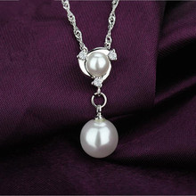 TJP Fashion Pearl Female Pendants Necklace Women Party Accessories Top Quality Silver 925 Women Choker Necklace Girl Lady Bijou цена