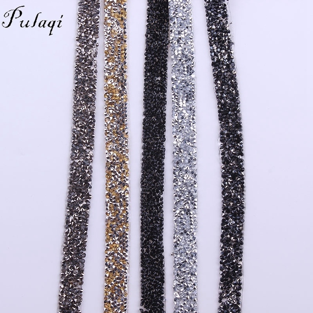 Pulaqi 1 Yard  15mm Clear Crystal Mesh Hot Fix Rhinestones Chain Trim Resin  Strass Banding ba45ab67cec9