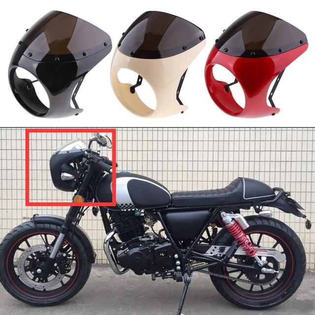 Motosiklet ön far Fairing cam cam plastik evrensel Cafe Racer motosiklet Retro far rüzgar ekran