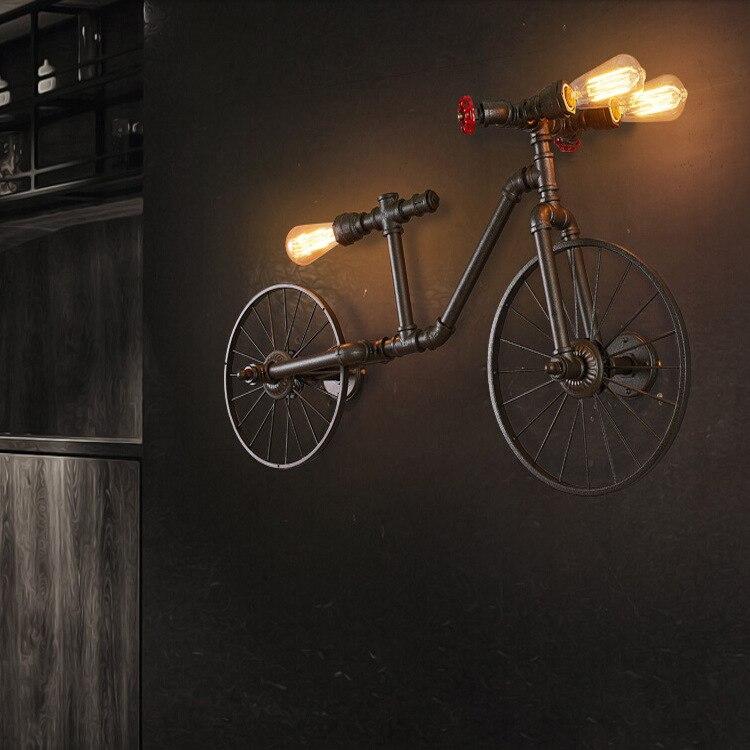 American Bicycle Pendant Light Child Creative Loft Vintage pendant lamp for Home decoration iron wrought led edison E27 110-220V american heavy metal vintage cabin loft style corrugated iron pendant lamp e27 110 240v chain pendant lights for home parlor