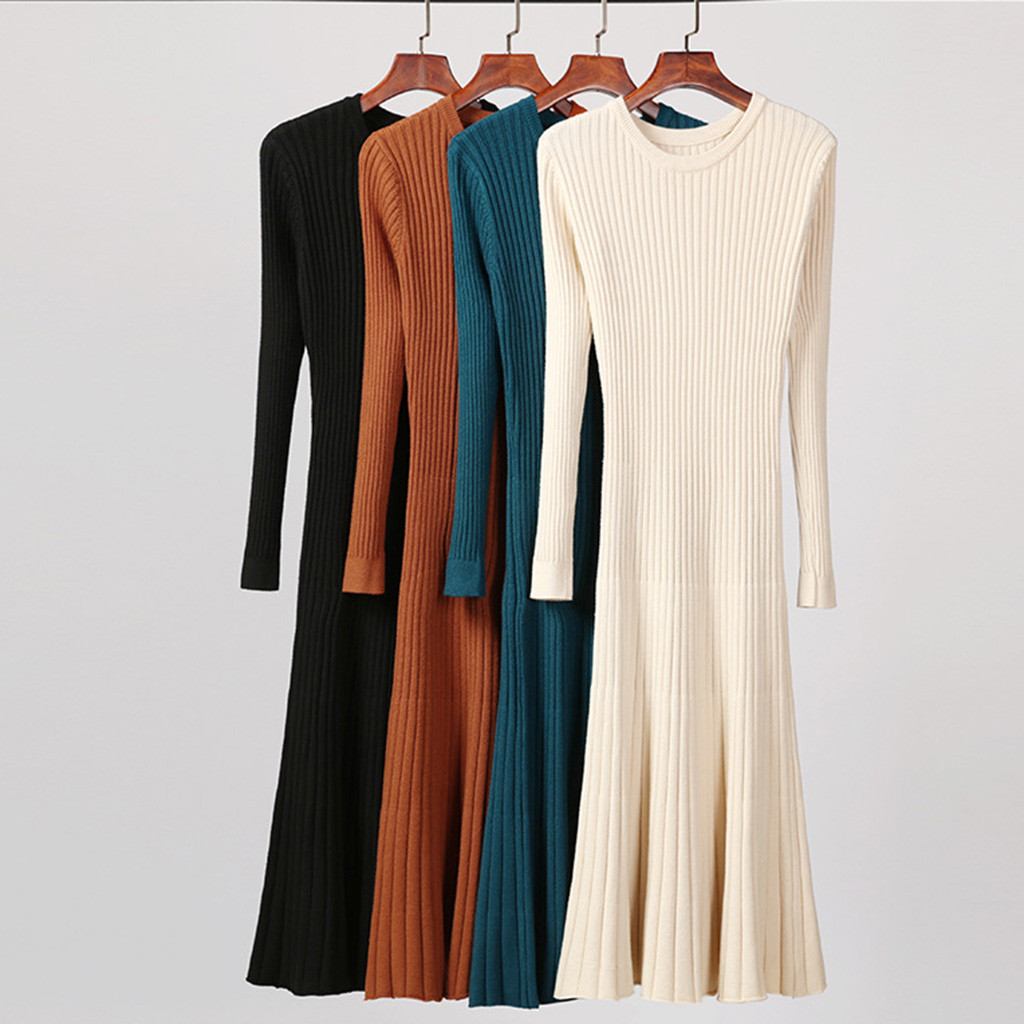 Elegant Women Long Sleeve Maxi Dress Women Round Neck Long Dress Ladies Solid Bodycon Dress Vestidos