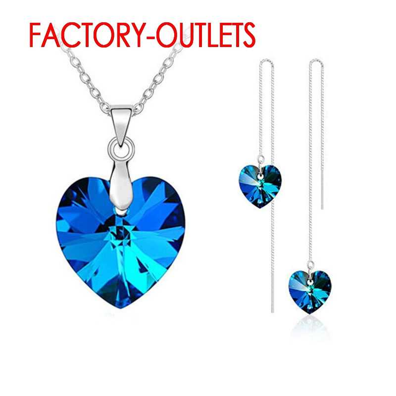 925 Sterling Silver Fashion Jewelry Pendant Necklaces Earrings Set Heart Design Female Party Engagement Customized Wholesale